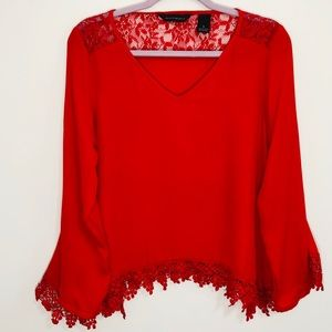 Investments sheer red lace embroidered top S